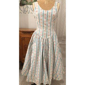 '80's Betsey  Johnson stripe floral cotton dress